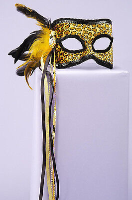 Leopard Masquerade Venetian w/ Feather Party Costume Mask  (Leopard Masquerade Masks)