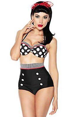 Vintage Push-up Bikini Retro Rockabilly Stil schwarz/rot/weiß Größen S, M, L, XL