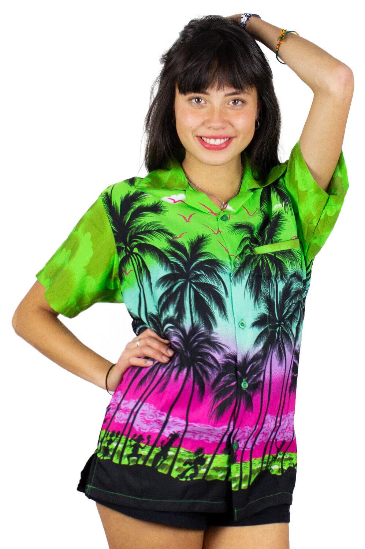 Funky Hawaiibluse Hawaiihemd Damen Beach Grün Hawaii Unisex