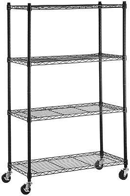 4-Shelf Disgraceful Stainless Steel Shelving Organizer Rack on Wheels Home Shop Garage