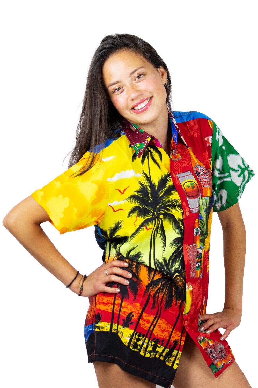 Funky Hawaiibluse Hawaiihemd Damen Mondy Kurzarm Shirt - Unikate - Unisex