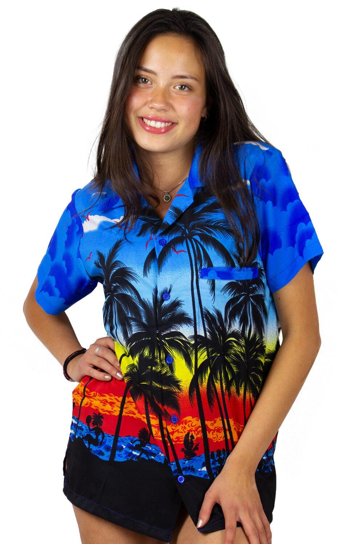 Funky Hawaiibluse Hawaiihemd Damen Beach Blau Hawaiihemd Kurzarm Unisex