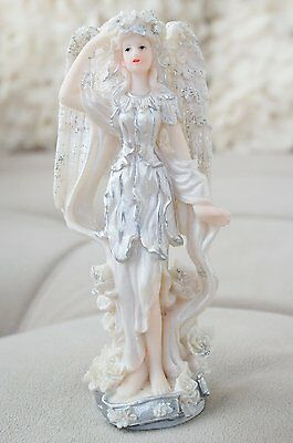 Vintage Style Silver and White Angel with Wings Figurine Statue Christmas Angel