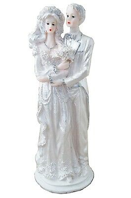 Vintage Angelic Bride and Groom Cake Topper or Figurine Decor Silver &