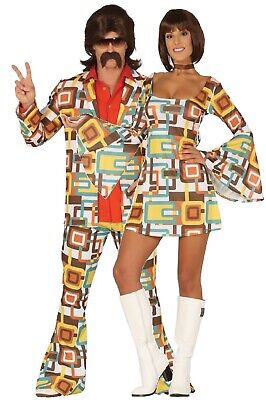 Couple Matching Costumes (Couples Matching Ladies & Mens Retro 70s 1970s Disco Fancy Dress Costume)