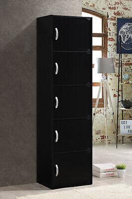 5 Door Storage Cabinet Shelf Organizer Bookcase Pantry Cupboard Closet Black