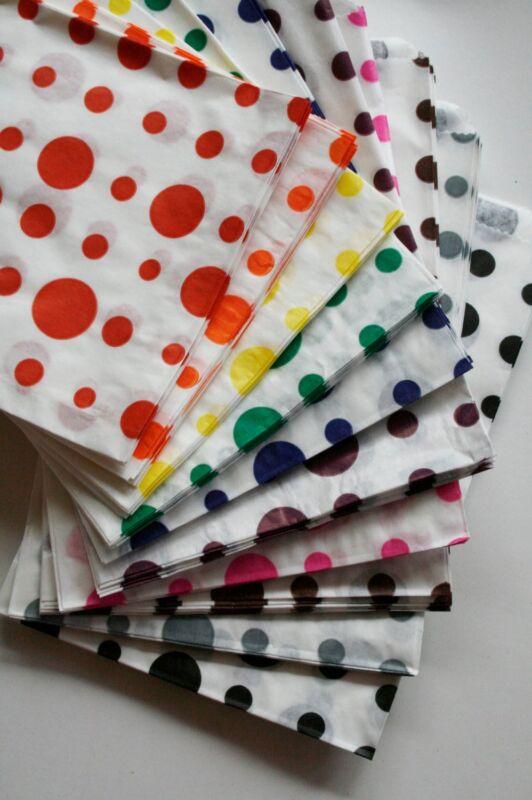 CLOSEOUT Sweet Shop Dot 5 x 7 Paper Bags - Color Choice - QTY 1000 - FREE SHIP