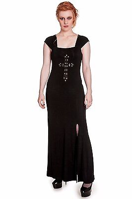 Damenkleid Morticia Cross Crucifix dress Spin Doctor schwarz Gothic 157049 ()