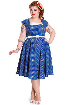 Hell Bunny 50's Judy Country Girl Polka Dot Square Neck Flare Dress