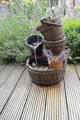 Ubbink Halifax Deco Fountain Rustic Decoration Barrels and Bucket 1387046
