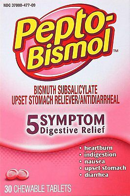 Pepto-Bismol Original Chewable Tablets Box, 30 ct