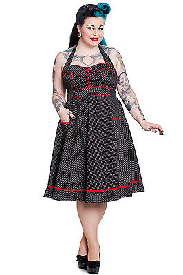 Hell Bunny Plus Size Rockabilly Black White Polka Dot Red Trim Pinup Dress