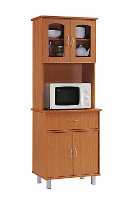 Hodedah Long Standing Kitchen Cabinet One Drawer and Space for Microwave, Cherry