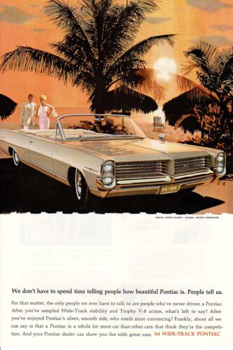 1964 Vintage print ad Car Pontiac Bonneville Beach Sunset People tell us car art