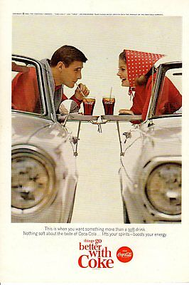 1965 Vintage print ad Coca-Cola Young people cars Things go Better cute drink