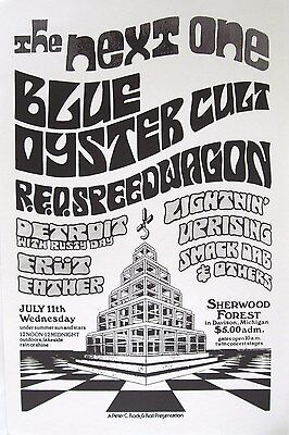 BLUE OYSTER CULT / R.E.O. SPEEDWAGON / DETROIT 1973 MICHIGAN CONCERT TOUR POSTER
