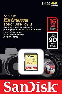 SanDisk 16GB Extreme SDHC 90MB/S Class 10 UHS/I U3 Camea Flash Memory Card