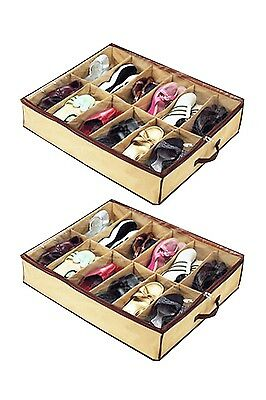 2 pcs Home Storage Shoe Organizers 12 Cells Under bed Bag Foldable Closet Drawer