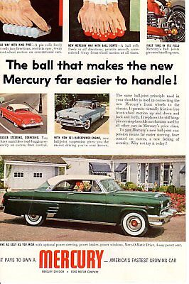 1950s Vintage print ad Car Mercury the ball that makes it easier to handle joint