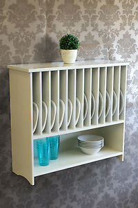 Wooden Wall mounted Plate Rack with Shelf Kitchen Storage
