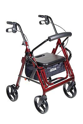 Drive Medical Duet Transport Wheelchair Rollator Walker  Burgundy 795Bu New