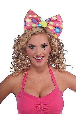 CIRCUS SWEETIE CLOWN HEADBAND BOW TIE Costume Adult Polka Dot Pink Cap Girl Big  - Clown Bow