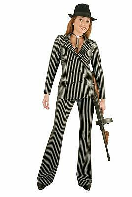 Gangster Moll Suit Mobster Pinstripe Fancy Dress Up Halloween Costume 2 COLORS - Halloween Costume Dress Suit