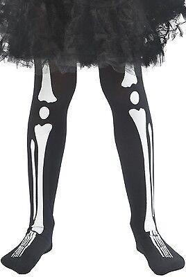 Mädchen Schwarz Weiß Skelett Knochen Halloween Kostüm Kleid Outfit Strumpfhose