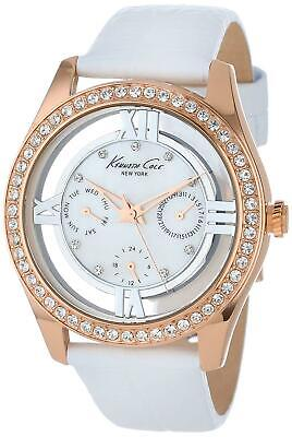 Kenneth Cole Women's Watch IKC2794 White Leather Strap Pearl Face