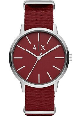 NIB A|X Armani Exchange Men's Cayde Burgundy Nylon Strap 42mm Watch