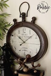 Large Metal Oval Wall Clock RUSTIC DECOR London Industrial Vintage Antique