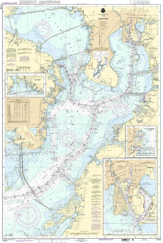 NOAA Chart Tampa Bay; Safety Harbor; St. Petersburg 12th Edition 11416