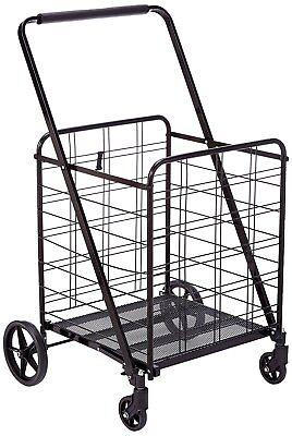Heavy Duty Jumbo Size Shopping Cart 360- Load 150 Lb Durable Black