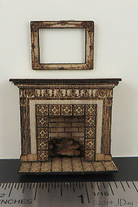 KIT-Tile-Look-Fireplace-Laser-Cut-Kit-amp-frame-quarter-scale-1-48-1-4-dollhouse