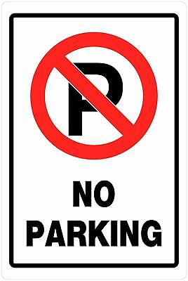 18' Plastic Parking Sign - Hillman 840014 No Parking Sign, White, Black and Red Heavy Duty Plastic, 18x12