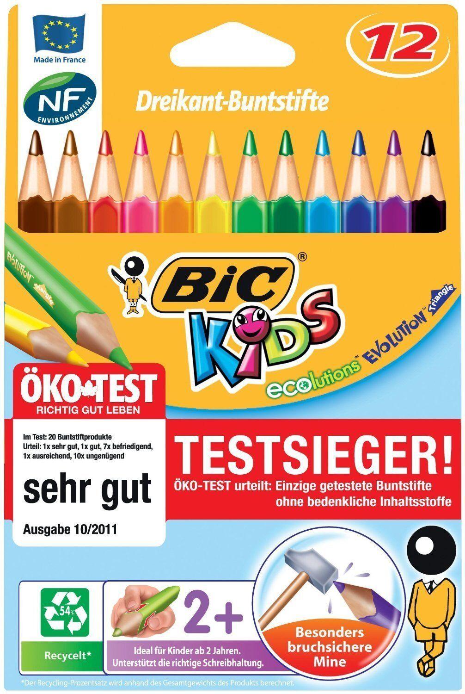 Bic Kids ECOlutions Evolution Buntstifte Set mit 12 Farbstiften Dreikant Jumbo