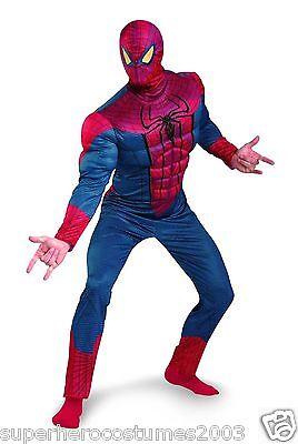 Spiderman Kostüm Erwachsene (The Amazing Spider-Man Klassisch Muskel Erwachsene Kostüm Größe 50-52 Brandneu)