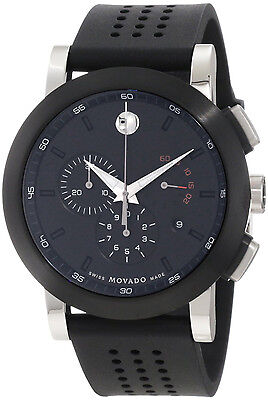 New Movado Museum Chronograph Black Rubber Strap Mens Sport Watch 0606545