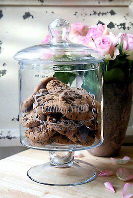 Plätzchendose XXL Bonboniere Vorratsglas Glasdose Keksdose mit Druck H 32,5 cm