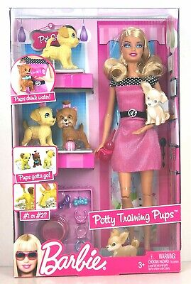 2009 Barbie and Potty Training Pups Doll Baby Puppies Dog Nursery Pet #T9397