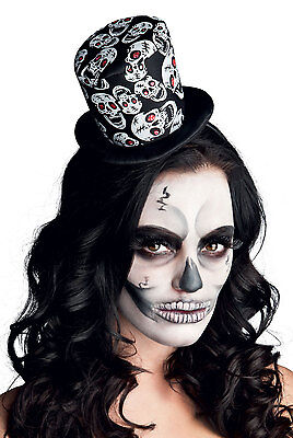 Damen Mini Totenkopf Top Hut Fascinator Halloween Kostüm Hut (Weißes Top Hut Kostüm)