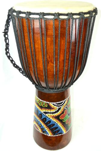 "24"" DJEMBE DRUM BONGO HAND CARVED AFRICAN ABORIGINAL DOT ART MUSICAL INSTRUMENT"