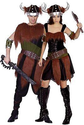 Paar Damen und Herren Wikinger Historisch Halloween Kostüm Verkleidung Outfit