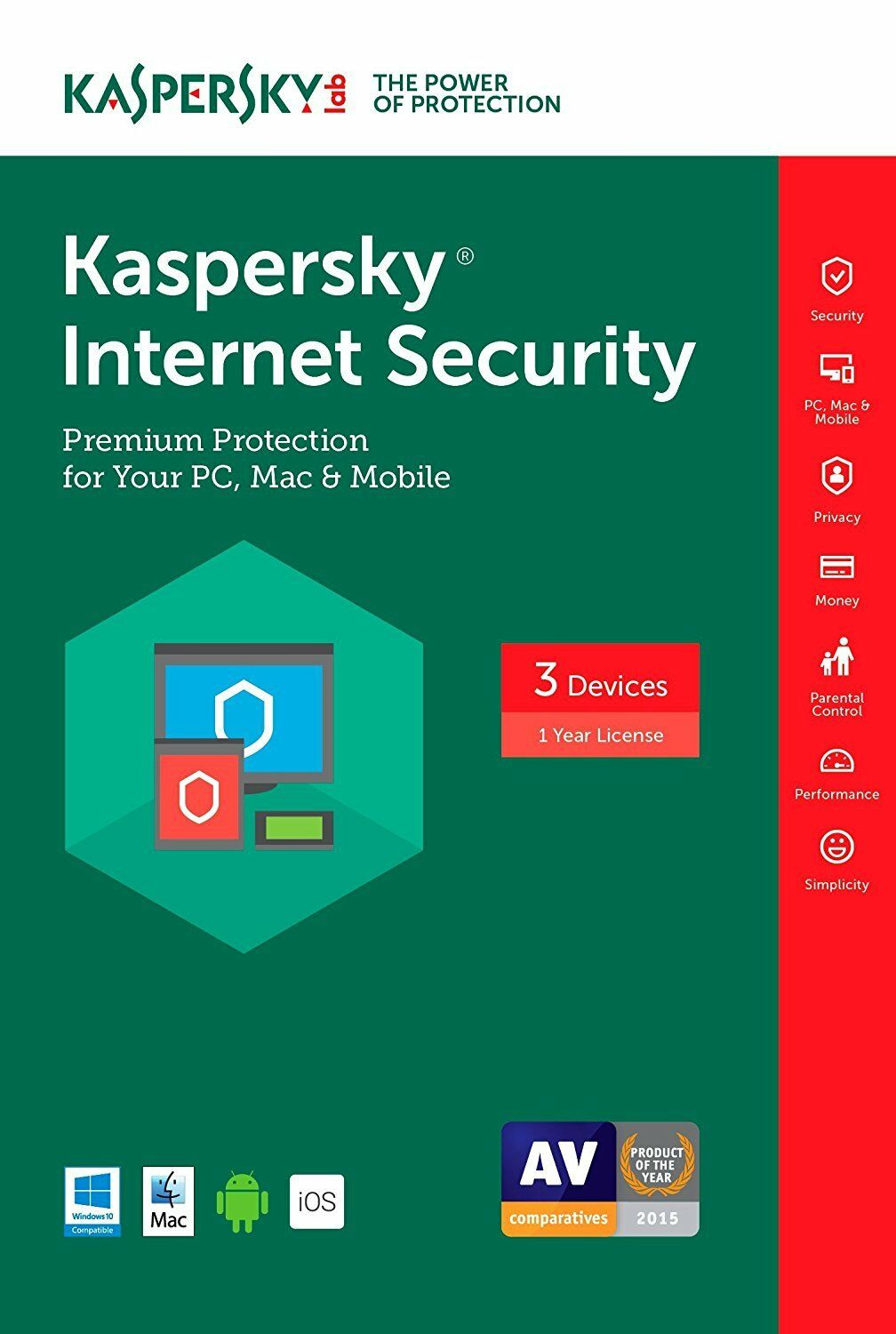 Kaspersky Lab Internet Security 3 Devices 1 Year 2017