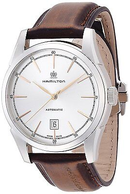 Hamilton Spirit Of Liberty Silver Dial Brown Leather Automatic Watch H42415551