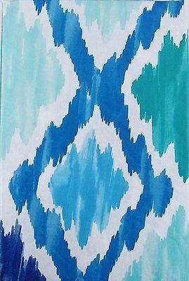 Summer Fun Vinyl Tablecloth Blue Aqua Watercolor Abstract Ocean Waves Asst Sz.