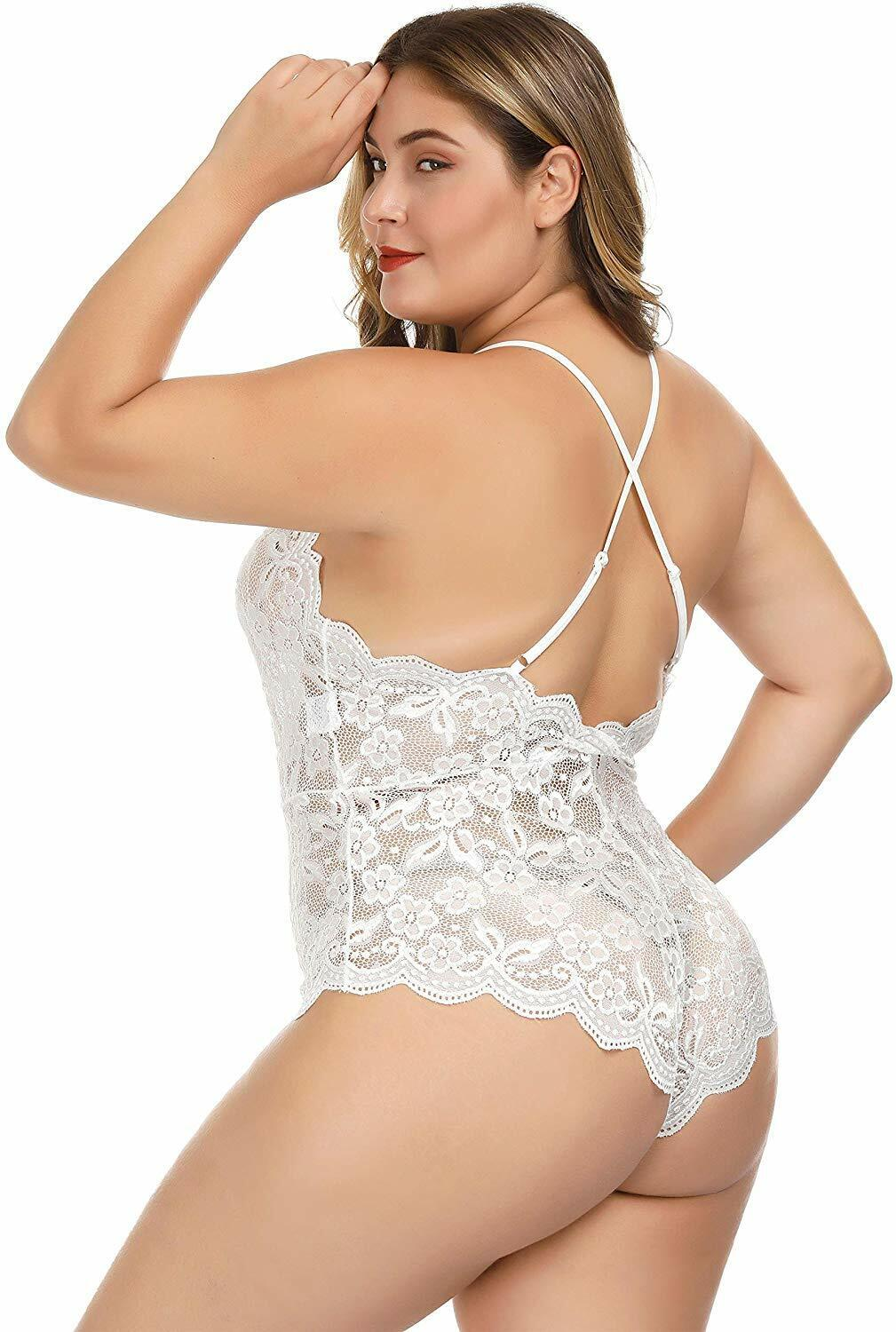 Women Lace Teddy Sexy Lingerie Bodysuit One Piece Babydoll Nightwear Plus Size Clothing, Shoes & Accessories