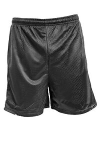Mens Athletic Gym Shorts Drawcord Waist Mesh Or Knit Polyester Black Or Navy