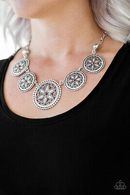 Cerise Jewelry - Paparazzi Jewelry red rhinestones floral silver frames necklace w/ earrings nwt