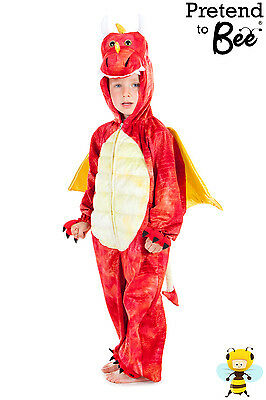 BOYS GIRLS CHILDRENS KIDS WELSH RED DRAGON DINOSAUR COSTUME OUTFIT AGE 3 4 5 6 7 (Dragon Kid Kostüm)